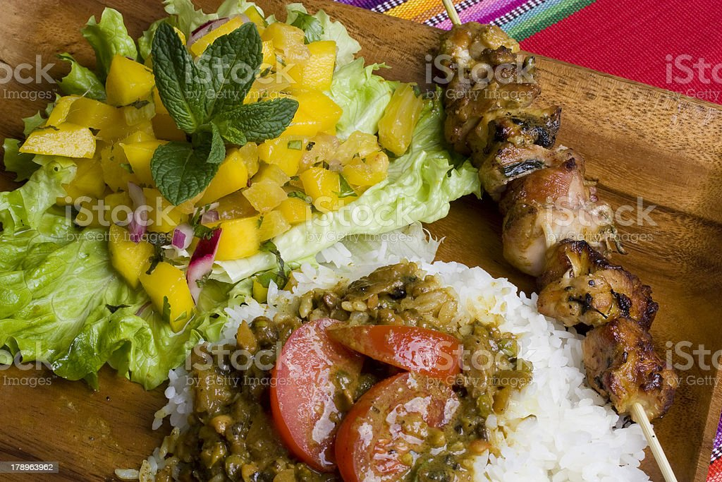 Grilled Chicken kebab meal royalty-free stock photo