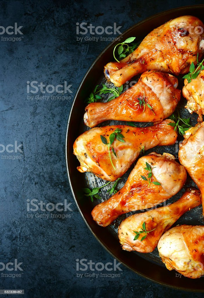 Grilled chicken legs with thyme. stock photo