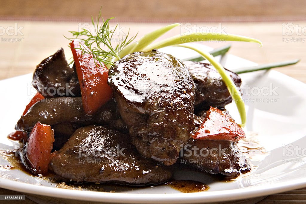 Grilled chicken liver stock photo