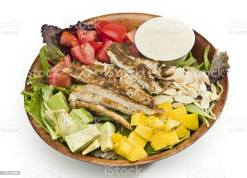 Grilled chicken mango and avocado salad royalty-free stock photo