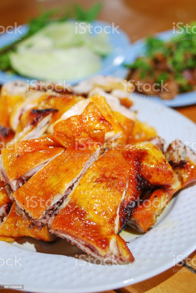 grilled chicken meat on plate stock photo