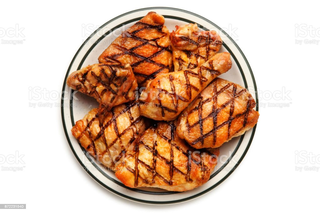 Grilled Chicken On A Plate stock photo