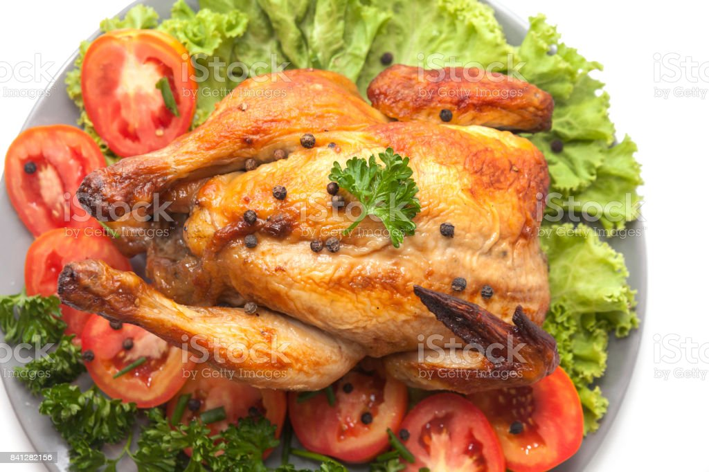 Grilled Chicken On Plate Decoration With Vegetable Stock Photo