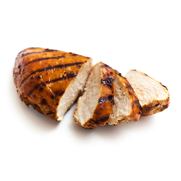 Grilled Chicken Grilled Chicken breast, isolated on white. chopped food stock pictures, royalty-free photos & images
