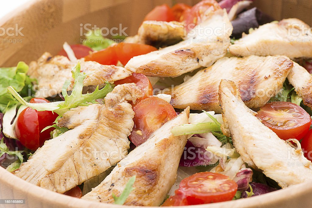 Grilled Chicken Salad Close-up stock photo