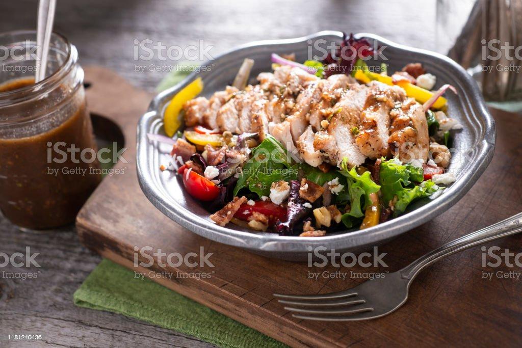 Grilled Chicken Salad Grilled Chicken Salad with Homemade Vinaigrette Dressing Antioxidant Stock Photo