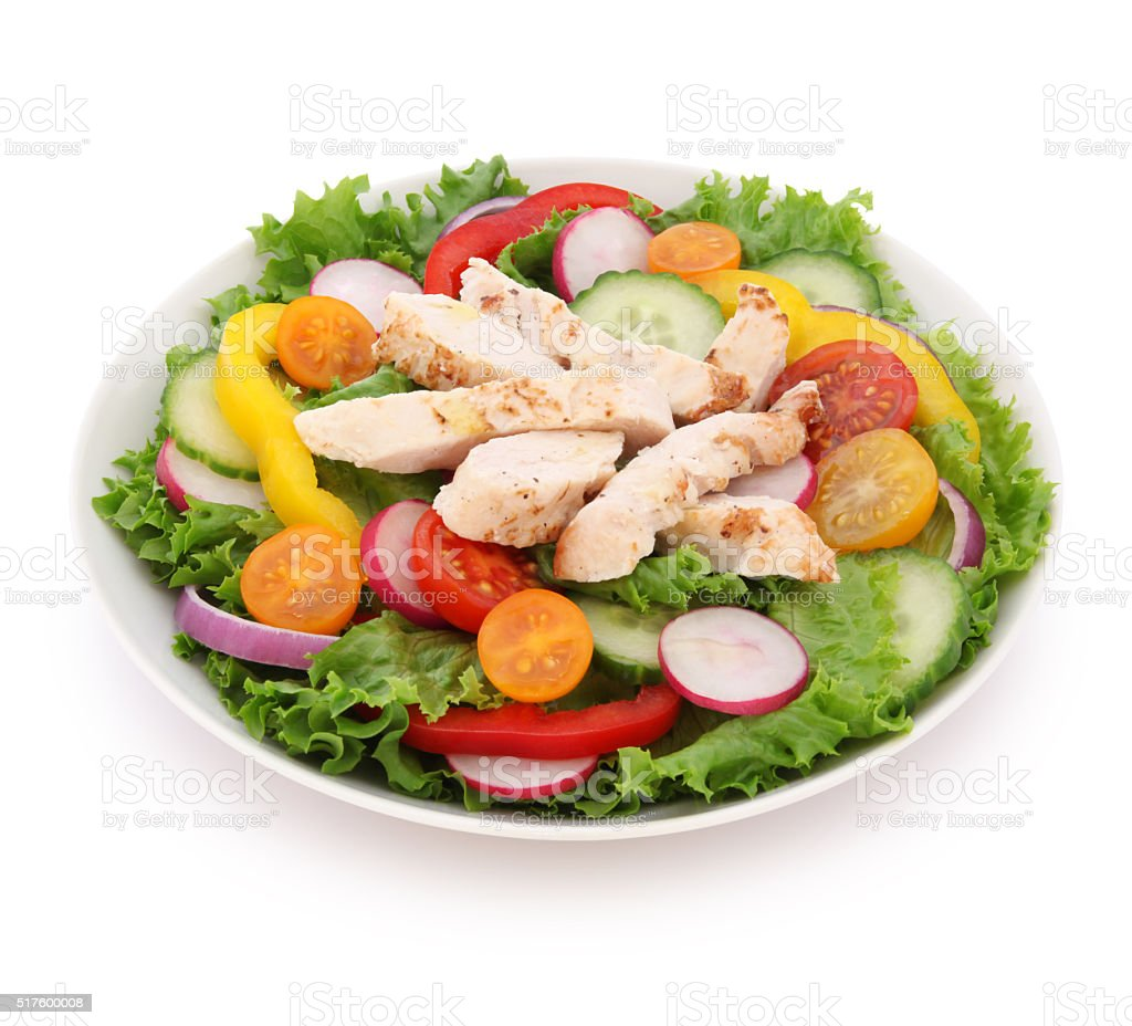 Grilled Chicken Salad (with path) stock photo