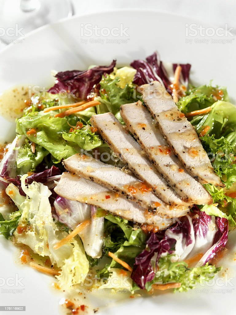 Grilled Chicken Salad with Italian Dressing royalty-free stock photo