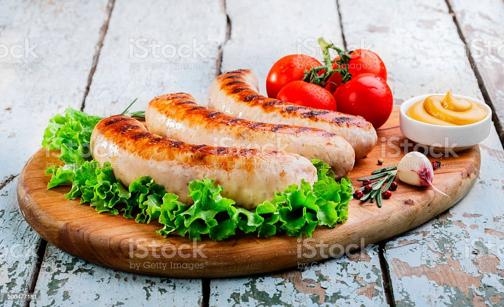 Grilled chicken sausages stock photo