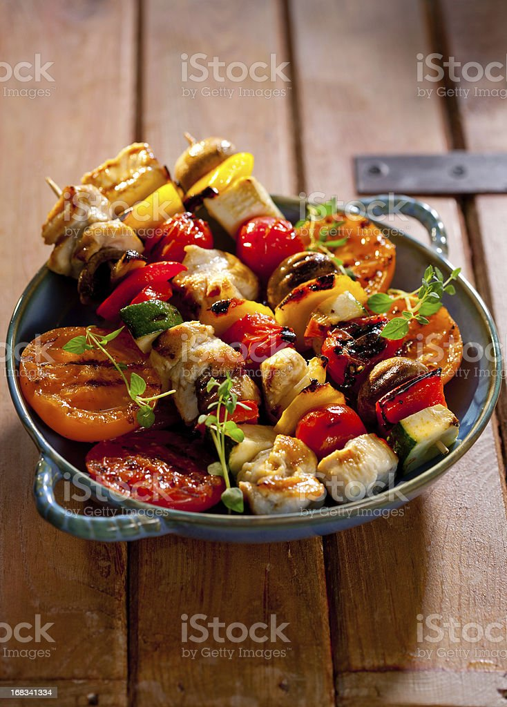 Grilled chicken skewers royalty-free stock photo