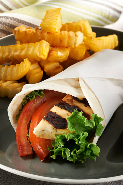 Grilled Chicken Snack Wrap stock photo