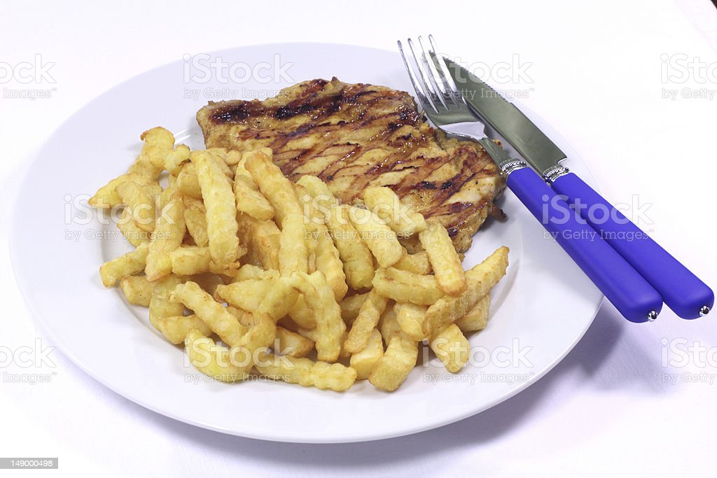 Grilled chicken steak with potatoes fried royalty-free stock photo