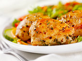 Grilled Chicken Thighs with a side Salad-Photographed on Hasselblad H3D2-39mb Camera