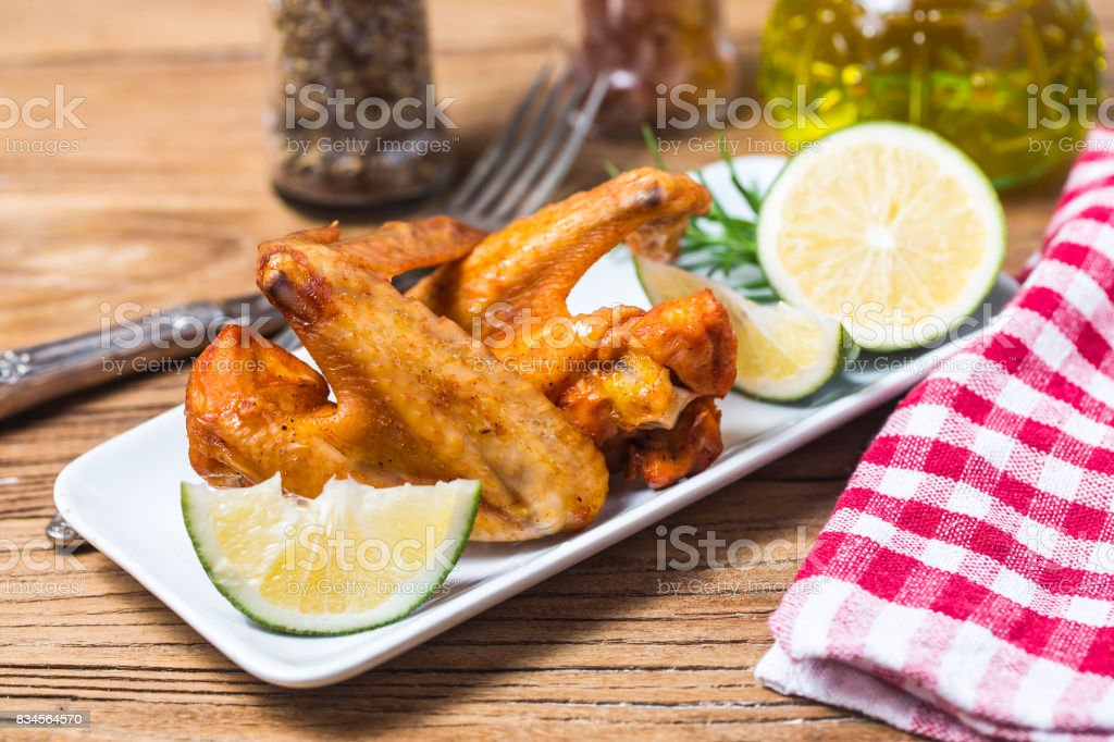 Grilled chicken wings stock photo