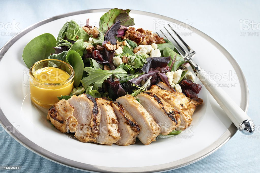 Grilled Chicken with mixed green salad stock photo