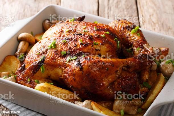 Pollo A La Parrilla Con Primer Plano De Setas Y Patatas En Una Fuente Para Horno Horizontal Foto de stock y más banco de imágenes de Al horno