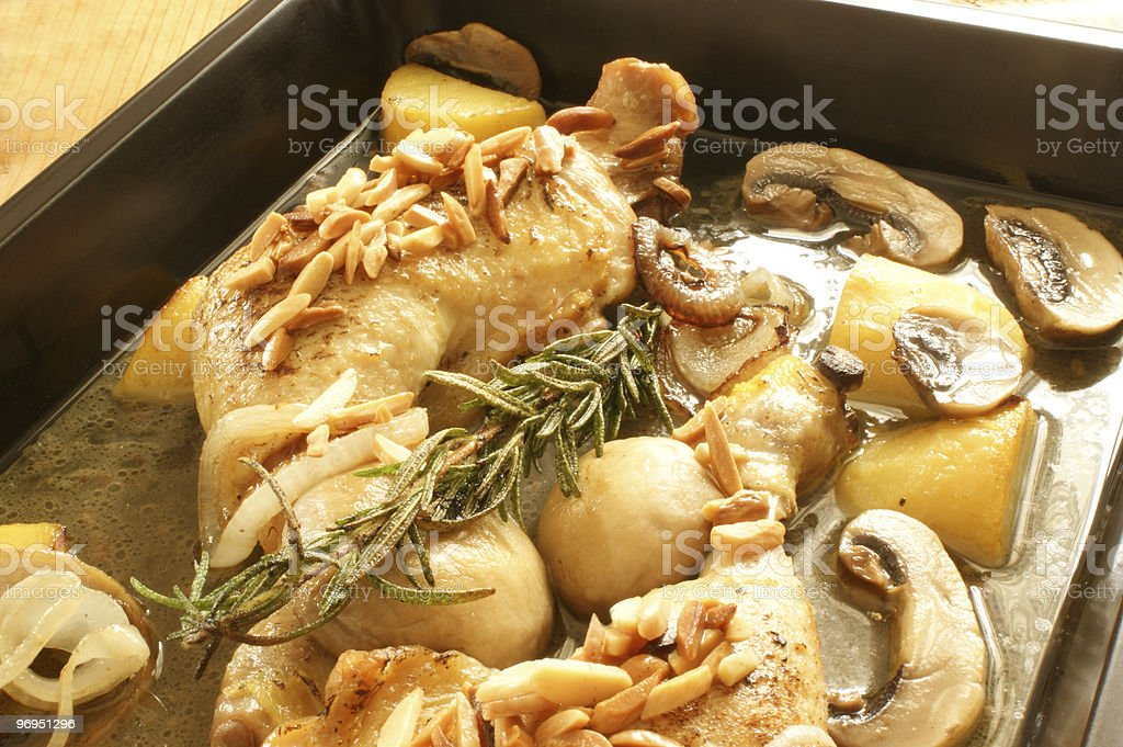 grilled chicken with organic potato and mushroom royalty-free stock photo
