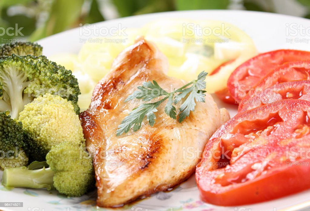 grilled chicken with steamed vegetables royalty-free stock photo