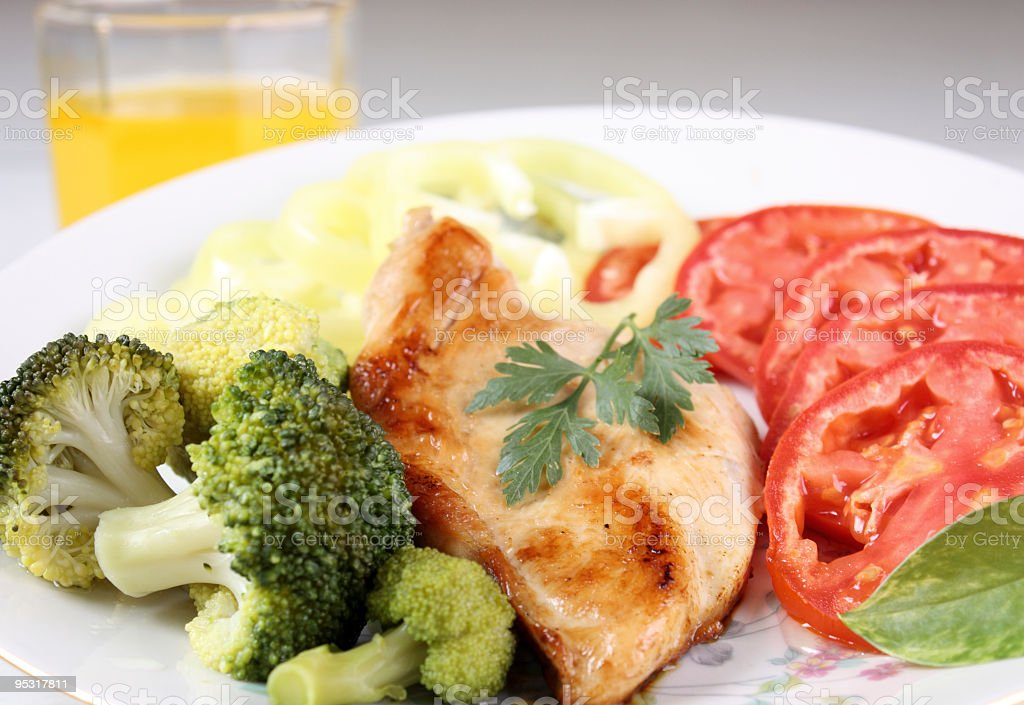 grilled chicken with vegetables stock photo