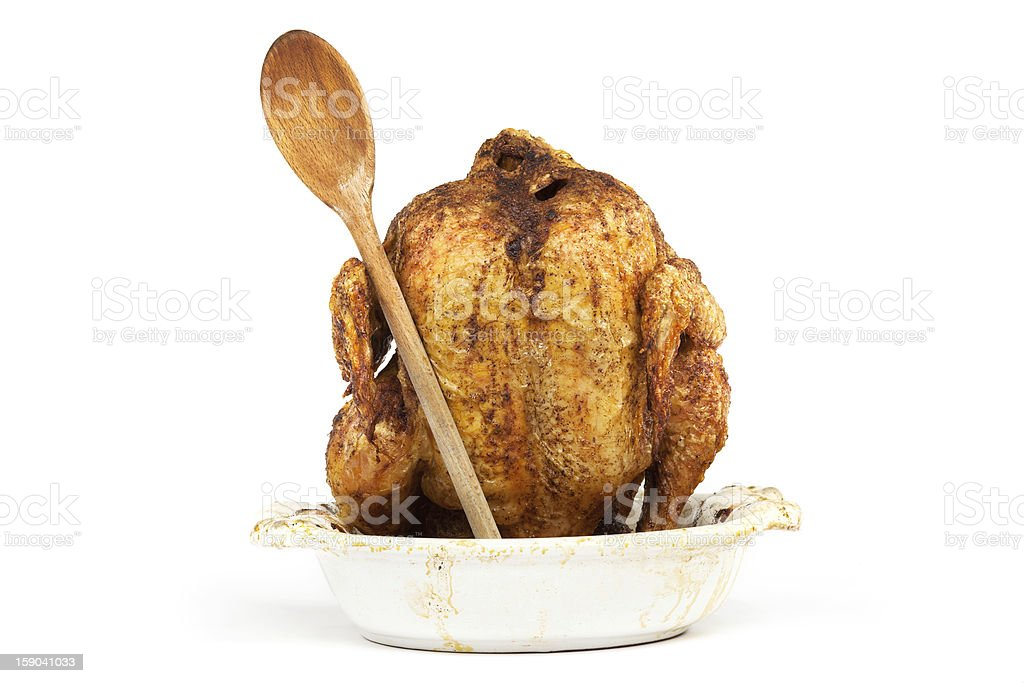 grilled chicken with wooden spoon royalty-free stock photo