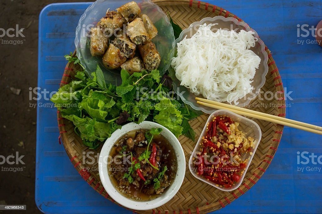 Grilled chopped meat with vermicelli royalty-free stock photo