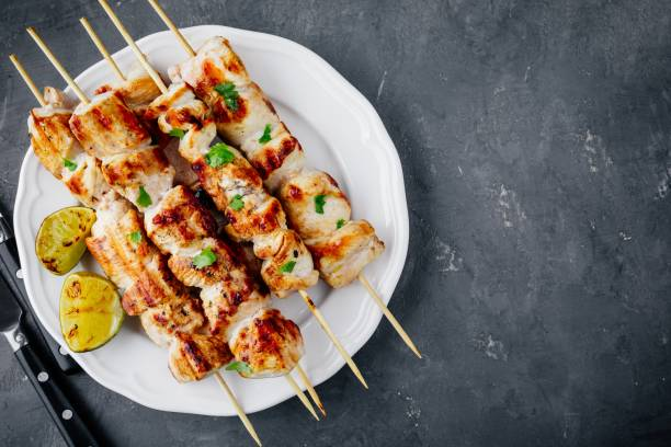Grilled Cilantro Chicken Skewers stock photo