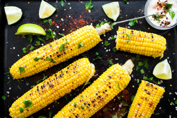 Grilled corn cobs in mexican style stock photo