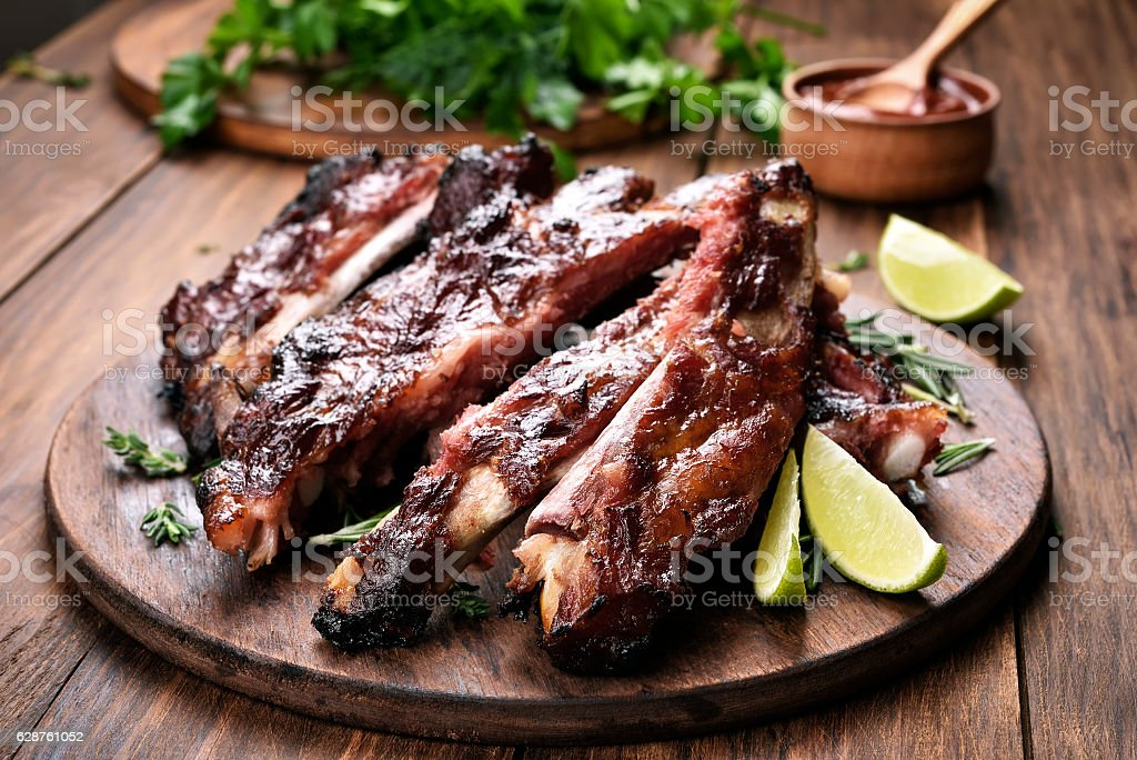 Grilled corn cobs on plate stock photo