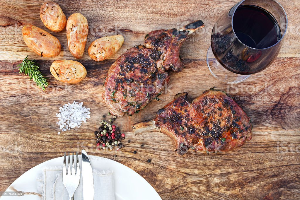 Grilled cutlets of pork iberico stock photo