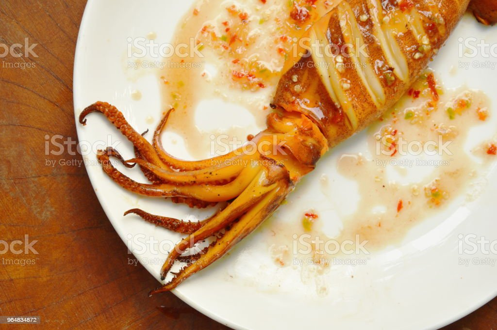 grilled cuttlefish dressing spicy sauce royalty-free stock photo