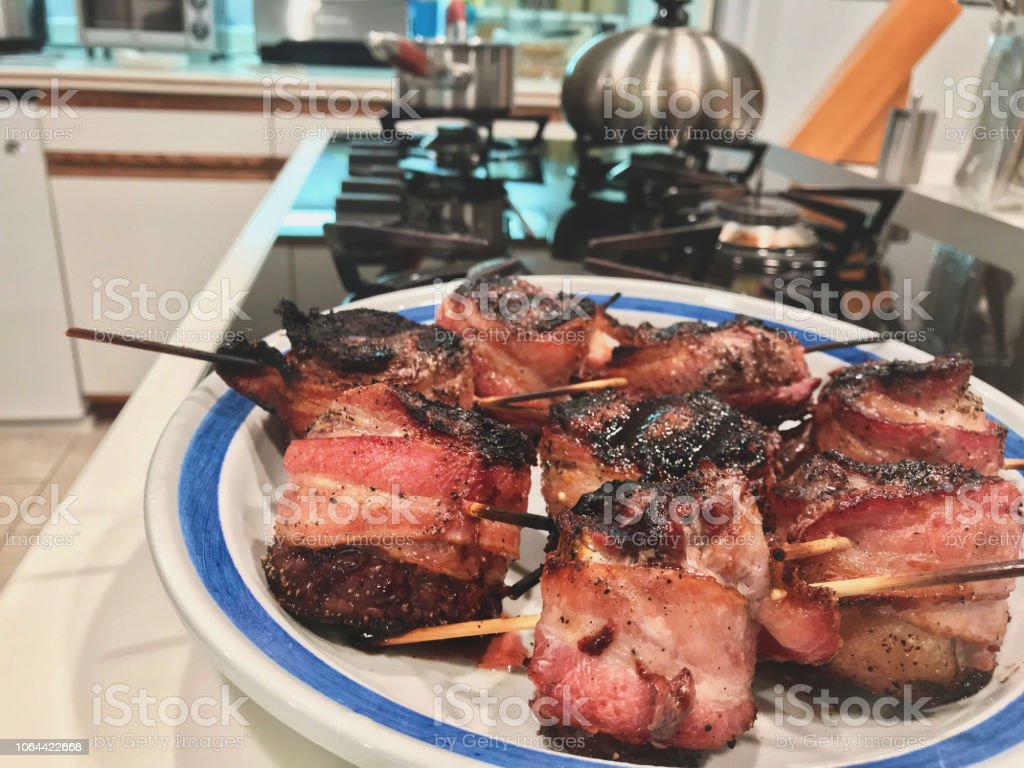 Grilled Deer Bacon Wrapped Tenderloin in Western Colorado stock photo