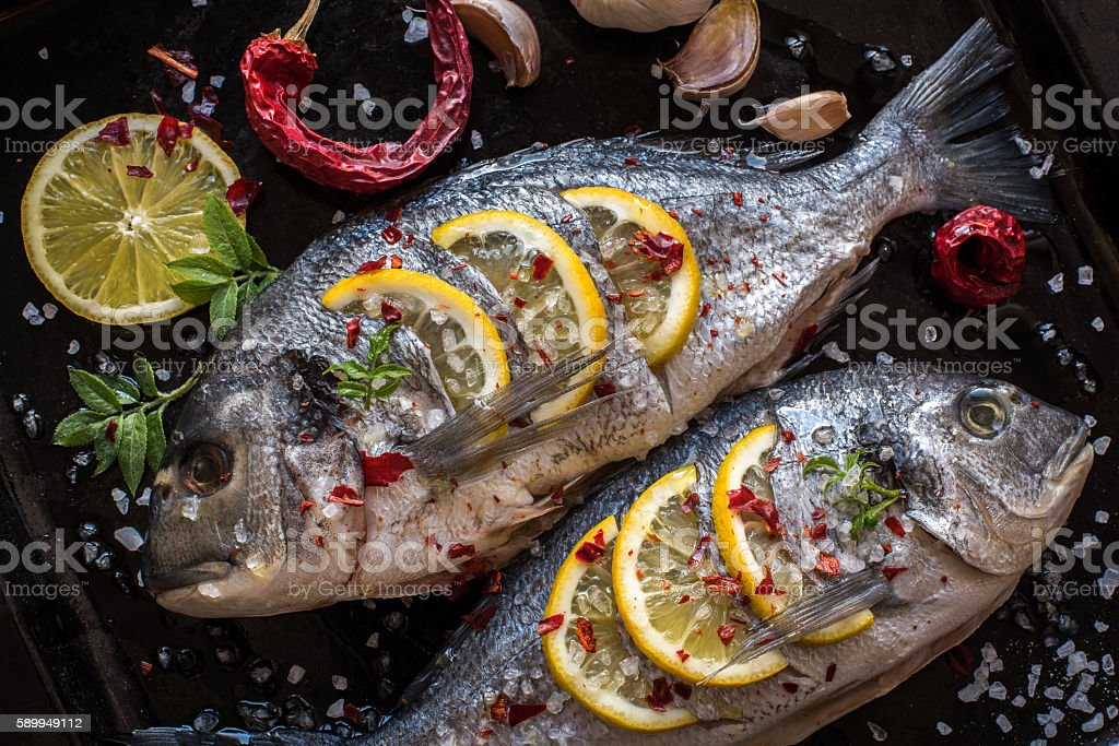 Grilled Dorado Fish. Mediterranean Kitchen stock photo