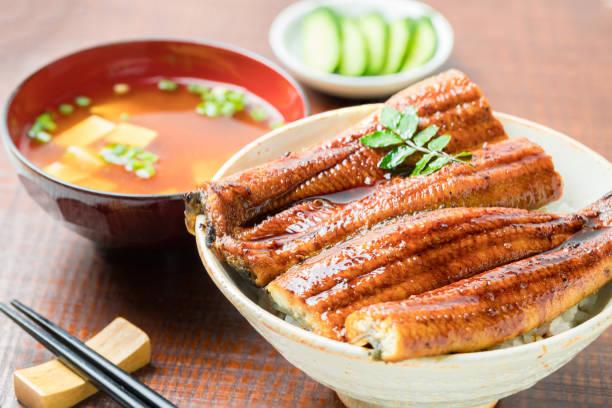 うなぎ丼焼き、うなぎ丼 - 丼物 ストックフォトと画像