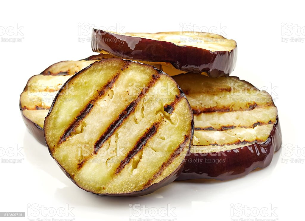 grilled eggplant slices stock photo