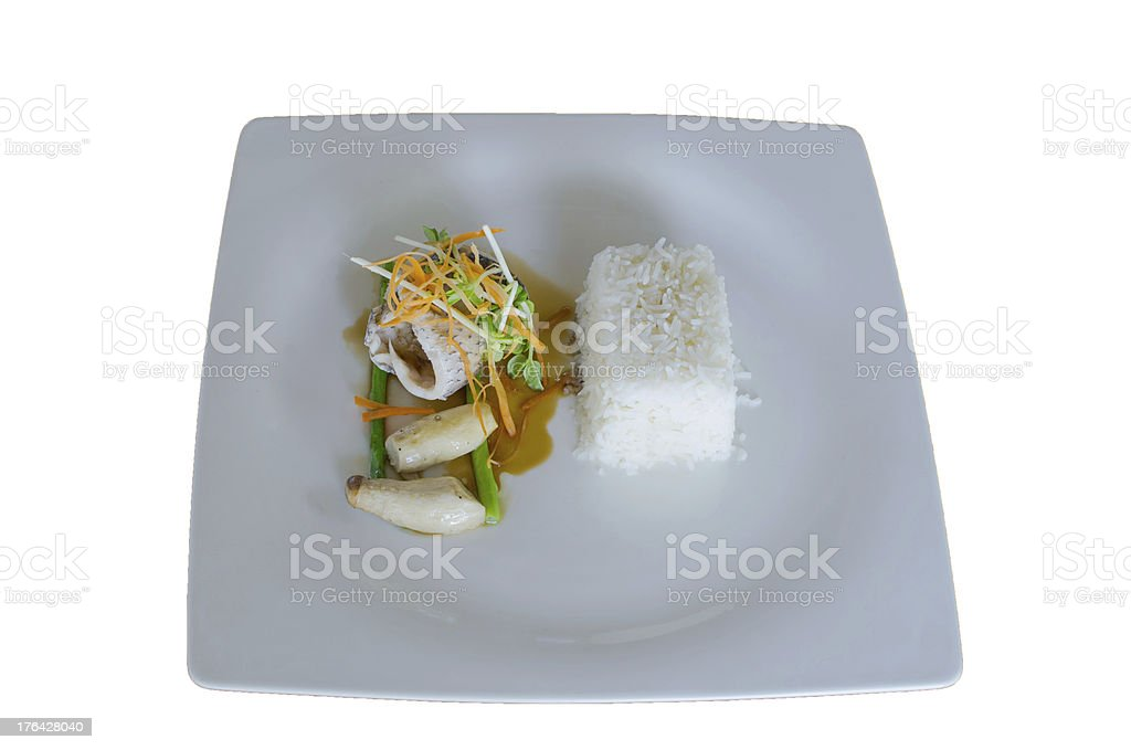 grilled fillet of seabass with teriyaki sauce and tream rice royalty-free stock photo