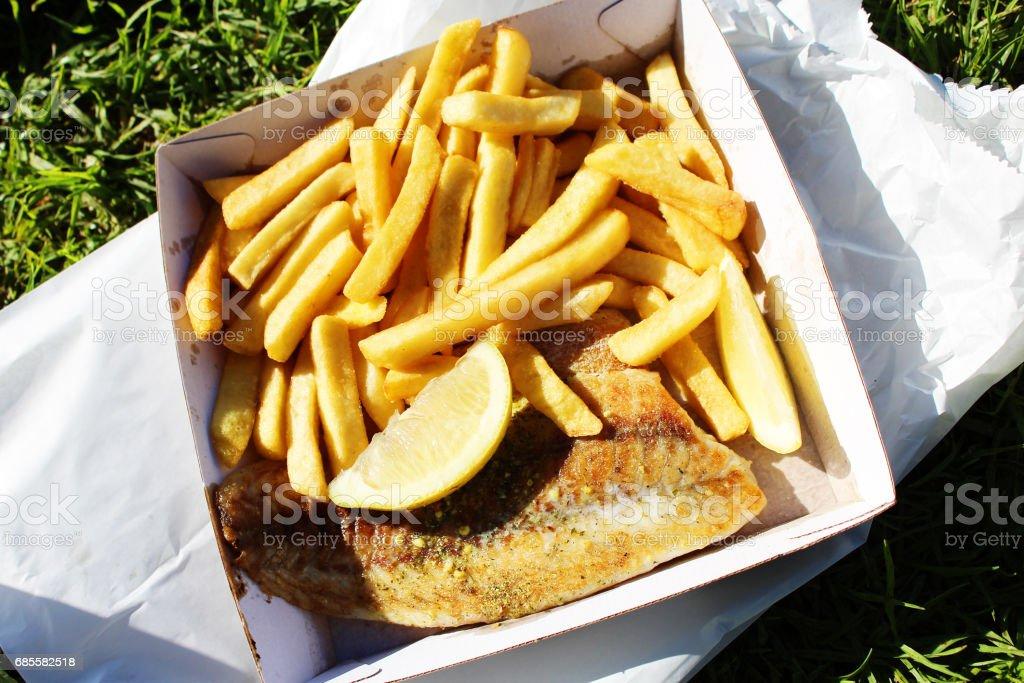 구운 생선, 칩, royalty-free 스톡 사진