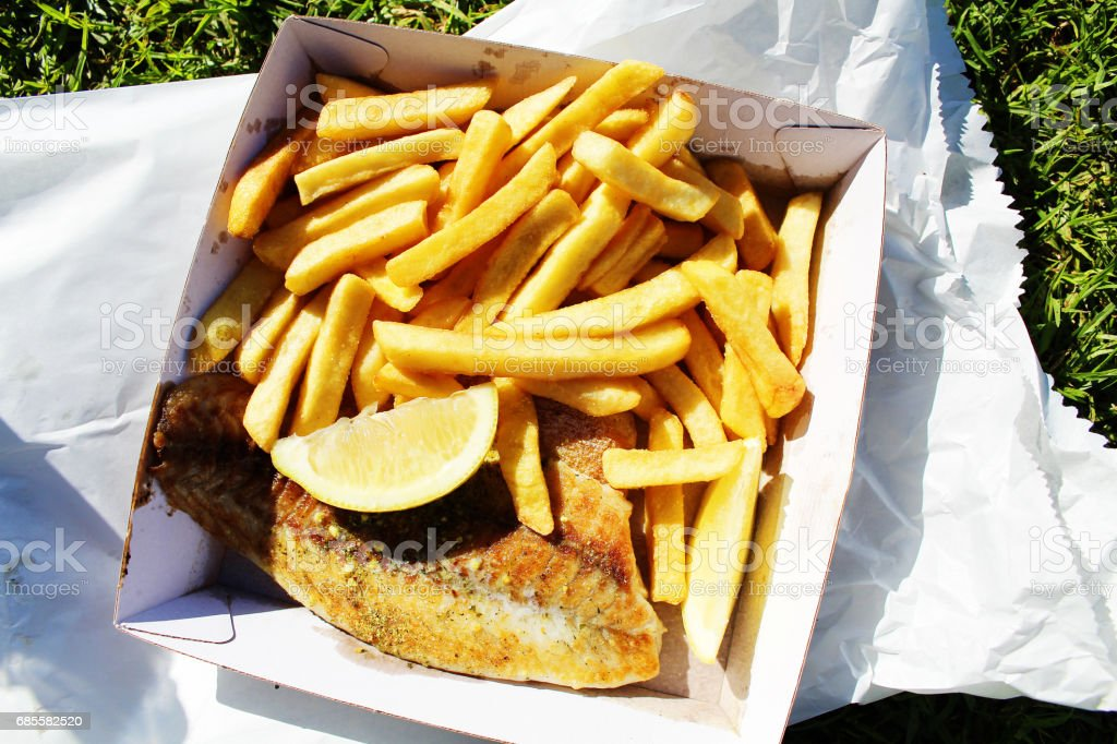烤的魚和薯條 免版稅 stock photo