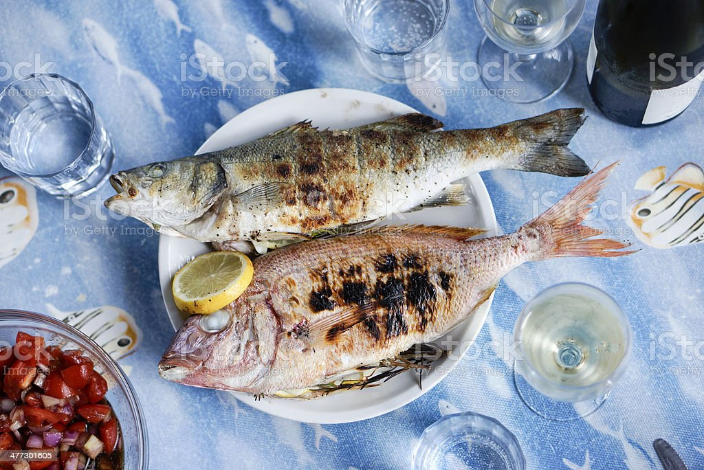 Grilled Fish at a barbeque stock photo