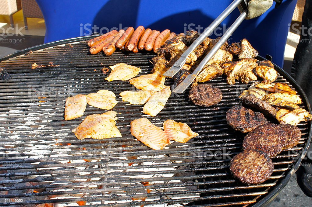 Grilled Fish, Burgers and Chicken stock photo