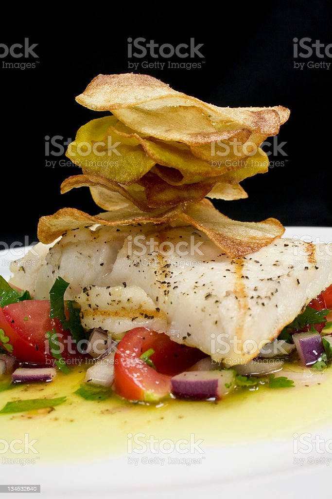 Grilled Fish Entree royalty-free stock photo