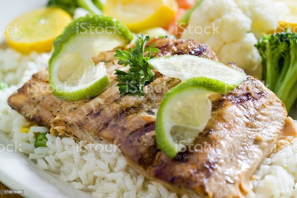 Grilled Fish Fillet with Vegetables royalty-free stock photo