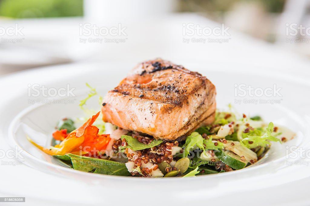 Grilled fish for lunch stock photo