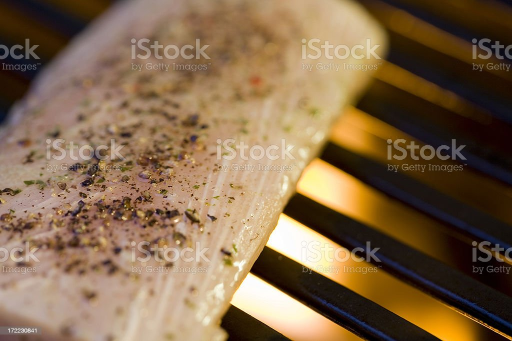 Grilled Fish on the BBQ royalty-free stock photo