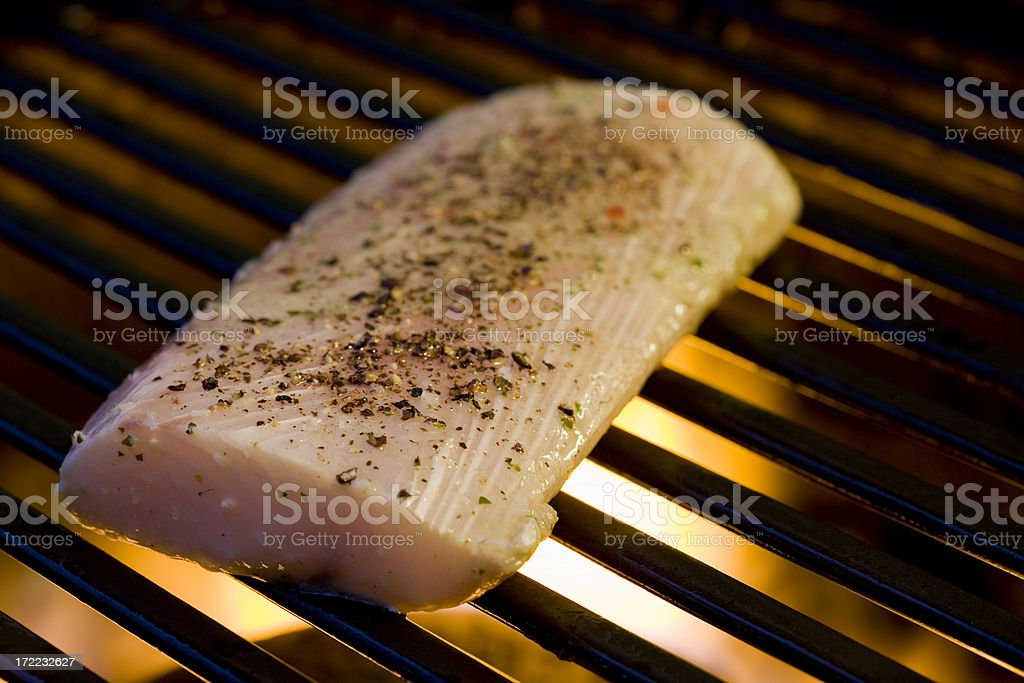 Grilled Fish on the BBQ stock photo