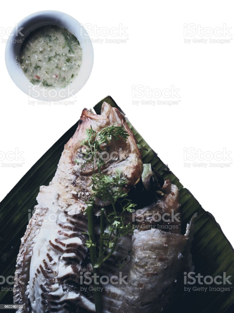 Grilled fish on white isolated royalty-free stock photo