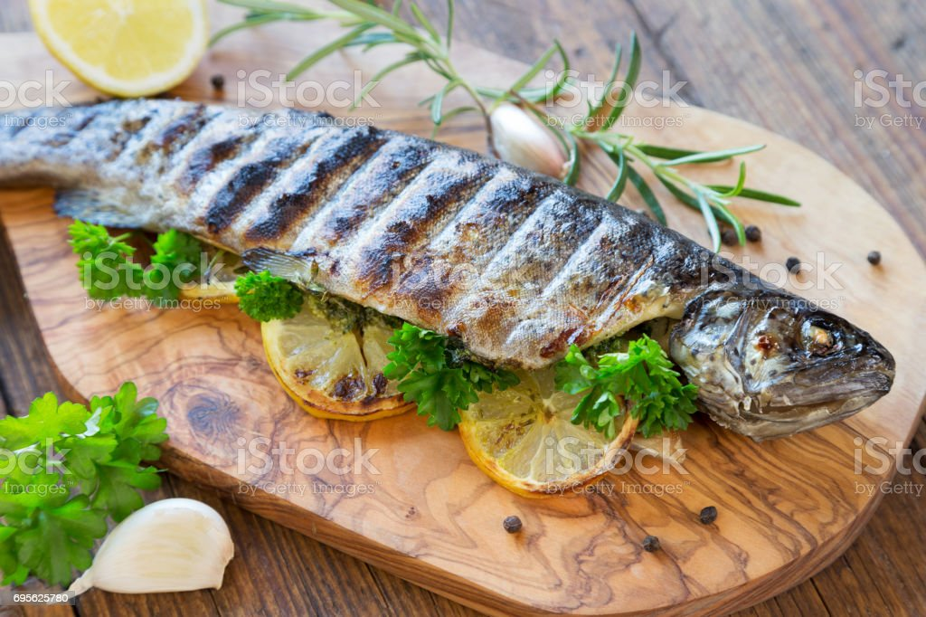 Grilled fish stock photo