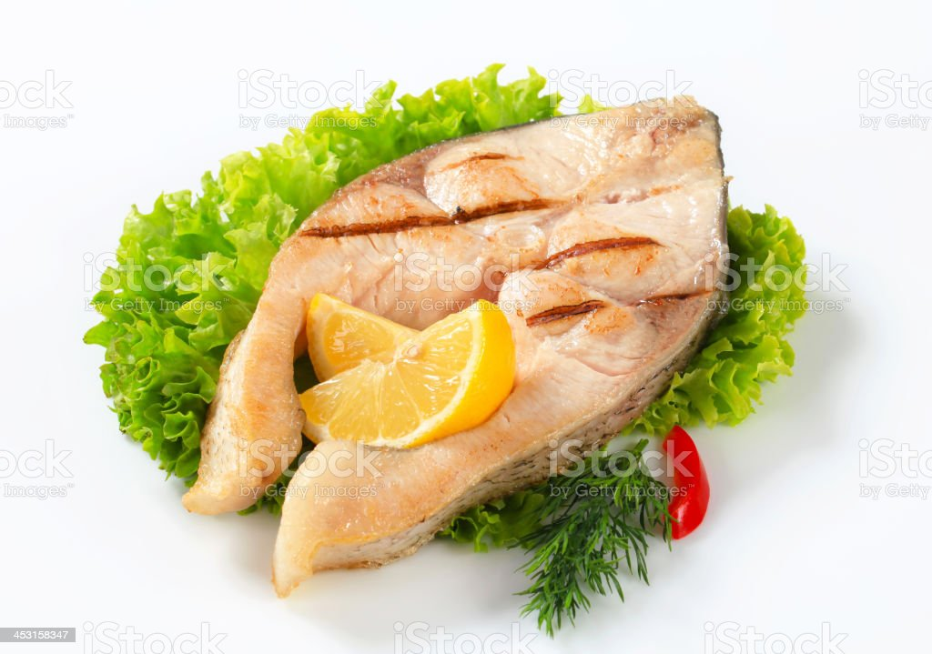 Grilled fish steak royalty-free stock photo