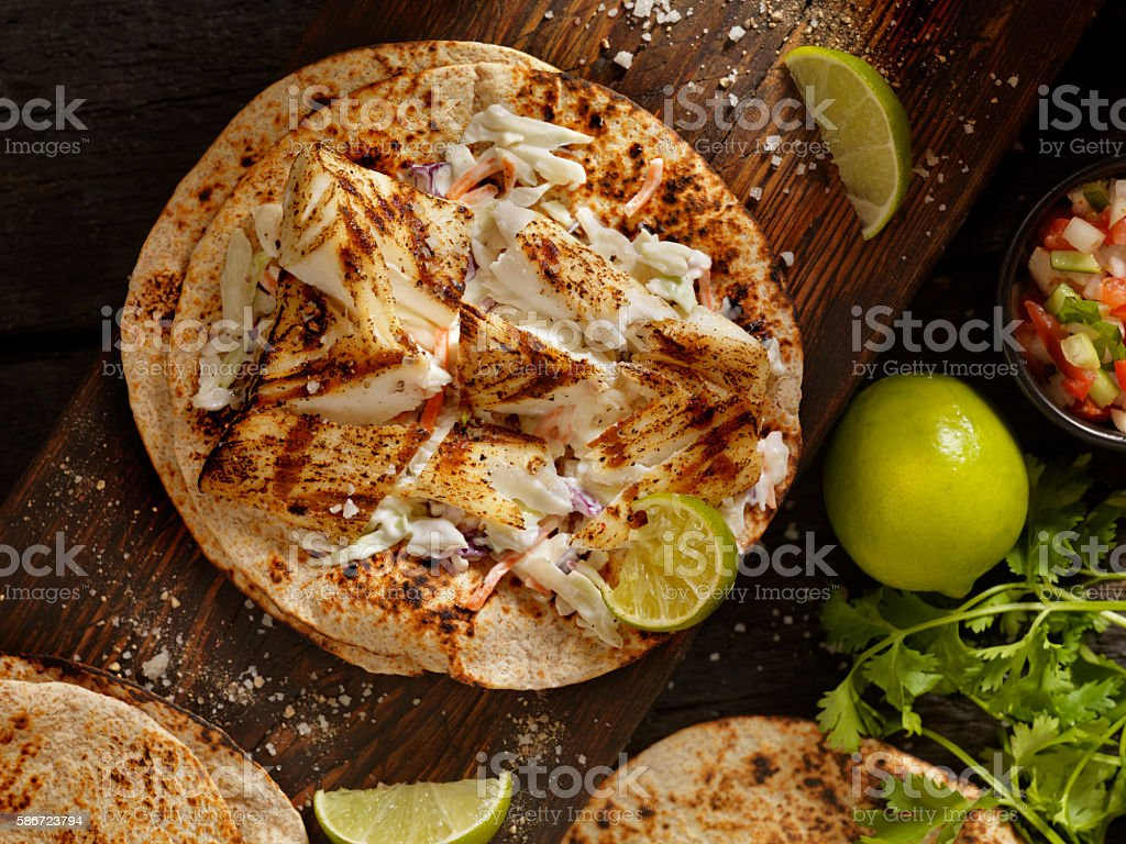 Grilled Fish Tacos stock photo