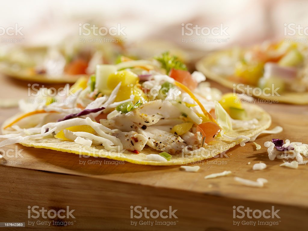 Grilled Fish Tacos with Mango Salsa stock photo