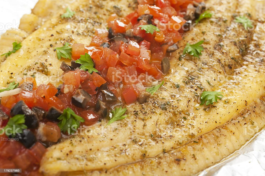 Grilled Fish Turbot with Tomato Olive Salsa stock photo